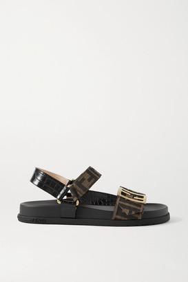Fendi Logo-embellished Canvas And Croc-effect Leather Sandals - Black