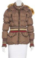 Just Cavalli Fox Fur-Trimmed Puffer Jacket