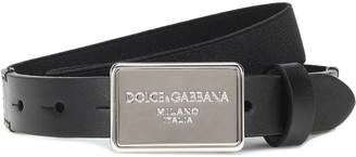 Dolce & Gabbana Kids Leather-trimmed belt