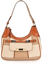 Maddi Linden tote with contrast panels and single strap