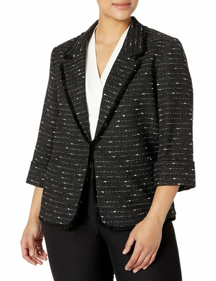 Tahari ASL Women's Plus Size Easy Notch Collar Fringe Jacket