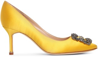 Manolo Blahnik Hangisi 70 yellow satin pumps