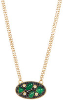 Freida Rothman 14K Gold Plated Sterling Silver CZ Agate Scatter Oval Necklace