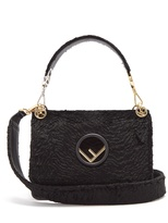 Fendi Kan I Logo textured-velvet shoulder bag