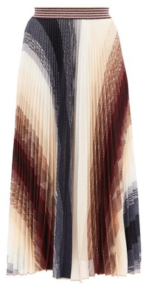 Missoni Pleated Abstract-jacquard Knit Midi Skirt - Burgundy Multi