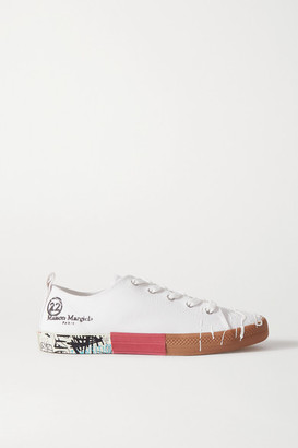 Maison Margiela Distressed Printed Canvas Sneakers - White
