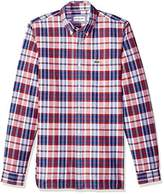 Lacoste Men's Long Sleeve Oxford Checked Button Down Collar Reg Fit
