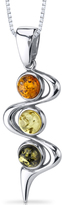 Ice Amber Polished Sterling Silver Pendant Necklace