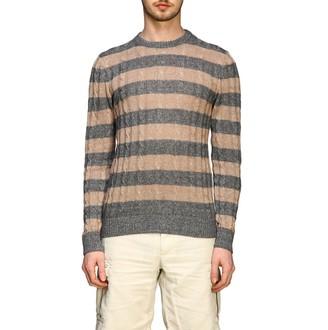 Eleventy Platinum Crewneck Sweater In Braided Cotton And Linen