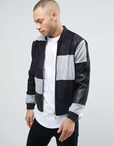 Religion Faux Suede and Leather Patchwork Bomber