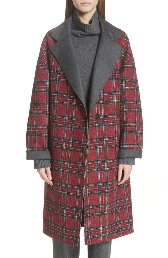 Lafayette 148 New York Braylie Flannel Collar Plaid Coat