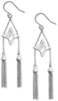 Lucky Brand Silver-Tone Star & Double Tassel Drop Earrings