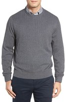 David Donahue Men's Cable Knit Silk Blend Sweater