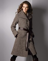 Ellen Tracy Women's Wrap Coat with Leather Piping