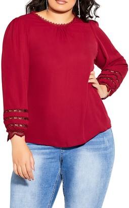 City Chic Lace Desire Blouson Sleeve Top