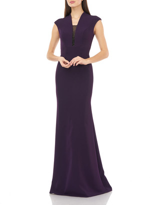 Carmen Marc Valvo V-Neck Cap-Sleeve Crepe Gown w/ Beaded Inset Illusion