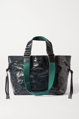 Isabel Marant Bagya Crinkled Patent-leather And Canvas Tote - Dark green
