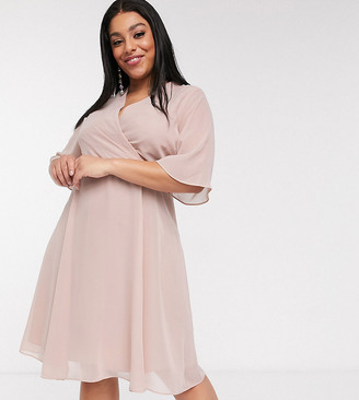 Simply Be wrap midi dress in blush