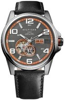 Tommy Hilfiger Gray Dial Black Leather Mens Watch 1790907