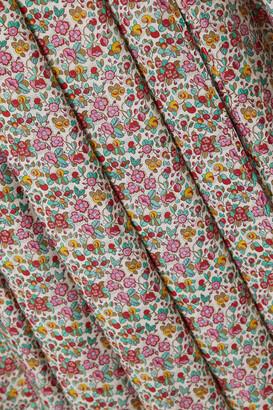 Rixo Georgia Pleated Floral-print Cotton And Silk-blend Midi Skirt - Green