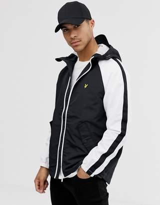 Lyle & Scott colourblock raglan jacket in black/white