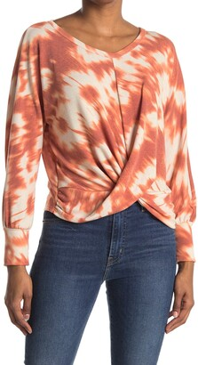 Lush Long Sleeve Tie Dye Print Twist Sweater
