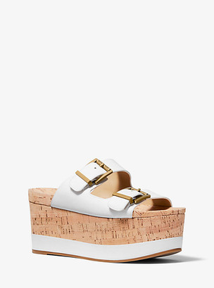 Michael Kors Delilah Leather and Cork Flatform Sandal