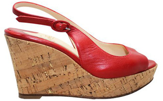 Christian Louboutin Red Leather Peep Toe Wedges Sandals Size 36
