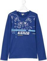 Kenzo lion print long sleeved T-shirt - kids - Cotton - 14 yrs