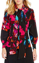 Trina Turk Woven Tie V-Neck Floral Blouse