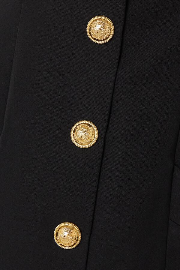 Thumbnail for your product : Balmain Button-embellished Grain De Poudre Wool Mini Dress - Black