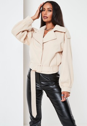 Missguided Beige Brushed Crop Trench Coat