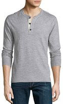 Rag & Bone Standard Issue Basic Long-Sleeve Henley Shirt, Gray
