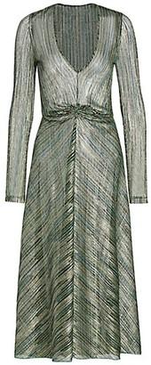 Rotate by Birger Christensen Sierra Metallic Chevron Midi Dress