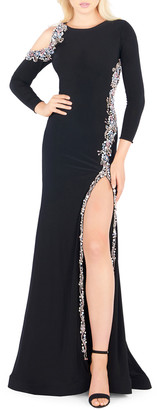 Mac Duggal Bracelet-Sleeve Embellished Jersey Gown with Asymmetrical Slit
