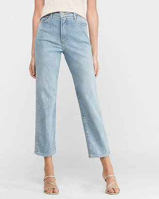 Express Super High Waisted Original Straight Cropped Jeans