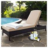 Crosley Palm Harbor Outdoor Wicker Chaise Lounge In Brown with Sand Cushions