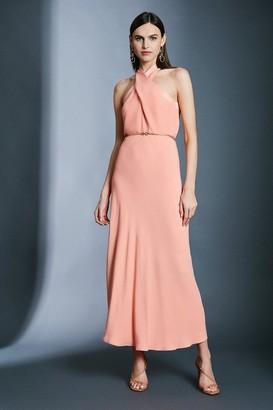 Karen Millen Contrast Collar Halter Neck Dress