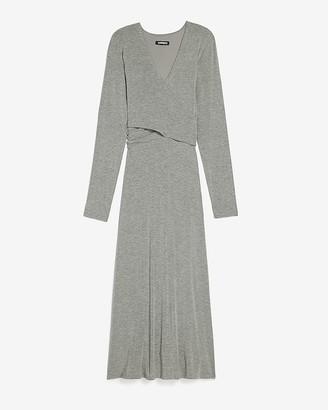 Express Long Sleeve Cross Front Knit Midi Dress