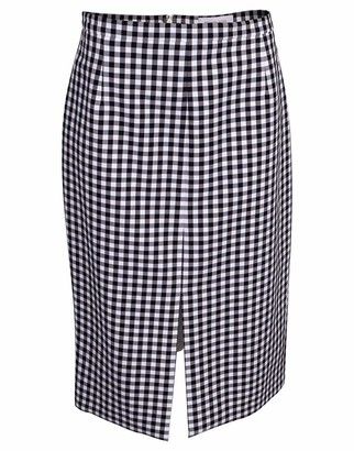 Michael Kors Collection Gingham Cotton Slit Pencil Skirt
