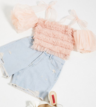 Lace & Beads exclusive ruched crop top with puff sleeve and bow shoulder in pastel pink