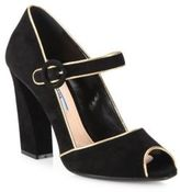 Prada Suede & Metallic Leather Mary Jane Peep Toe Pumps