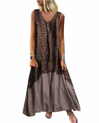 KIDSFORM Women's V Neck Print Spaghetti Strap Long Maxi Summer Beach Dress Sundress with Pockets Coffee M