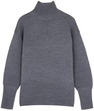 Victoria Victoria Beckham Victoria, Victoria Beckham Charcoal Ribbed Wool Jumper