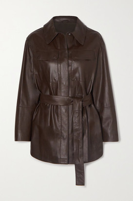 Brunello Cucinelli Belted Leather Shirt - Brown