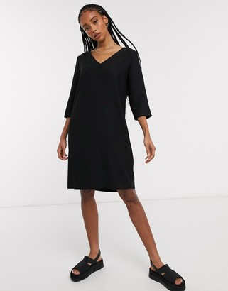 Selected 3/4 sleeve tunic mini dress in black