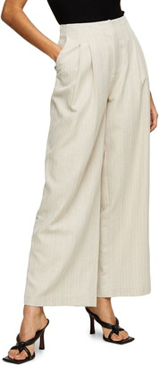 Topshop Herringbone Linen Wide Leg Trousers