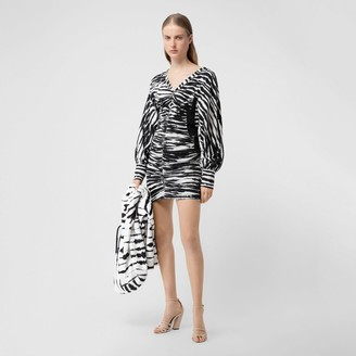 Burberry Ruched Watercoour Print Stretch Cotton Mini Dress