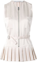 Victoria Beckham pleated trim zip up top - women - Silk/Viscose - 10