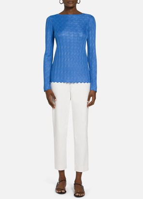 St. John Pointelle Knit Bateau Neck Sweater